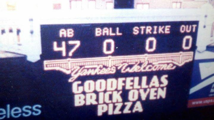 Goodfella's Pizza on NY Yankee Scoreboard